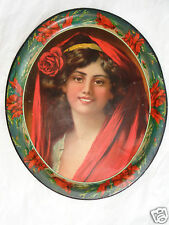 ANTIQUE VICTORIAN LADY RED ROSE POPPY PORTRAIT PRINT TIN LITHO SERVING TRAY