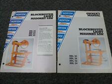 Norton Clipper Bbl32 Bbl34 Masonry Saw Owner Operator Maintenance Manual Set