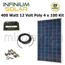400W WATT SOLAR KIT: 4X 100W PV Solar Panel 12V / 24V Charge Controller RV BOAT