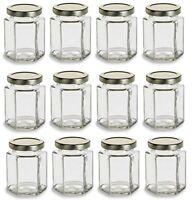 Nakpunar 12 Pcs 6 oz Hexagon Glass Jars with Gold Lids Jam Honey Candle Canning