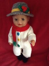 KNITTING PATTERN - Novelty Christmas Snowman costume 15 - 18 inch doll baby born