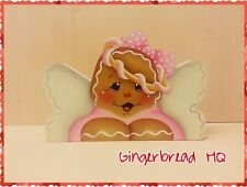 HP Hand Painted Gingerbread,  Angel, Girl, Shelf Sitter, Gingerbread Decor, Pink