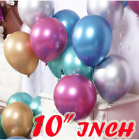 "10"" Metallic Pearl Chrome Latex Balloons for Wedding Birthday Party 10-50 PCS UK"
