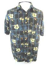 KNIGHTSBRIDGE Men Hawaiian ALOHA shirt pit to pit 23 L rayon vintage camp luau