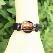 Hamburger Food Black Bangle 20 mm Glass Cabochon Leather Charm Bracelet
