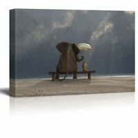 "Canvas Prints Wall Art - Elephant and Dog Sit Under the Rain - 24"" x 36"""