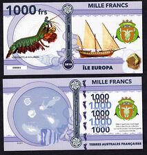 RARE ★ ILE EUROPA ● TAAF / COLONIE ● BILLET POLYMER 1000 FRANCS ★ N.SERIE 000001