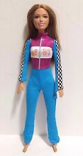 Mattel Barbie Doll Brunette Brown Eyes in Auto Racing Outfit 2015 EUC