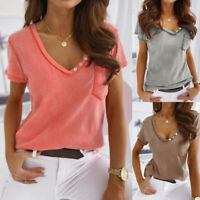 Women's Summer Short Sleeve Tunic Tops Tee Casual V Neck Pocket Blouse T-Shirt
