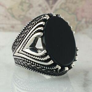 Solide 925 Sterling Silber Männer Ring Schwarz Onyx Edelstein Handgefertigt Ott