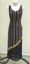 Robe Fuego Voilage Doublé Noir Imprimé Ton Marron Et Ocre Taille S