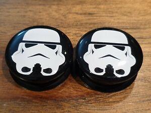 Pair Star Wars Stormtrooper Ear Plugs Flesh Tunnel Tunnels Stretcher 6-30mm