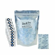 "[50 Packs] 5 Gram ""Dry & Dry"" Premium Silica Gel Desiccant Pack... Free Shipping"