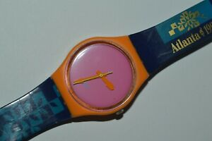 Swatch Watch GO100C ATLANTA STAFF 1996 Olympics Special Quartz Swiss 34mm Vintag