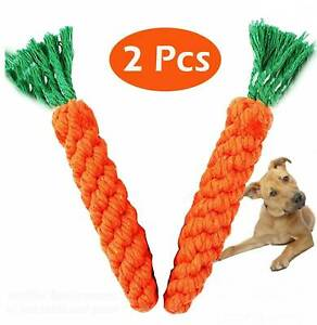 2 X Pet Dog Chew Toys Braided Rope Carrot Hamster Puppy Teeth Dental Cleaning