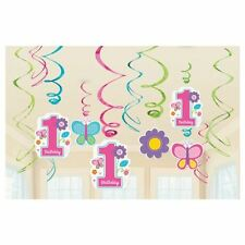 12pk Sweet Pink Butterfly Girl's 1st Birthday Party Supplies Swirl Decorations