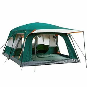 KTT Extra Large Tent 12 PersonStyle-BFamily Cabin Tents2 RoomsStraight Wall3 ...