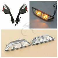 Rearview Mirrors Turn Signal Indicators For 11-15 Kawasaki Ninja ZX10R ZX-10R