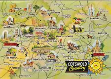COTSWOLD COUNTRY MAP COLOUR POSTCARD