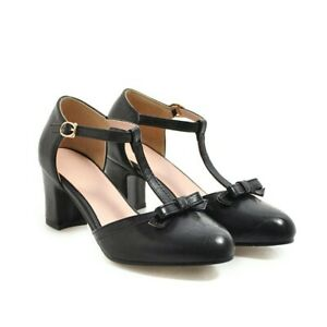 Ladies Ankle Strap T-Bar Block heels Bow Tie Casual Party Shoes Size UK New