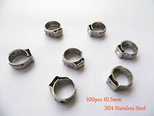 """100 x10.5mm 2/5"""" PEX Stainles Steel Ear Clamp Cinch Rings Crimp Pinch Fitting"""