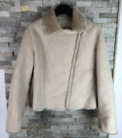 M&S Ladies Size 18 Faux Fur Fleeced Collar Jacket Coat