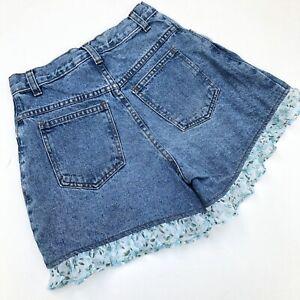 90s Vtg Ruffled High Waisted Mom Jean Shorts Juniors16 Floral Light Stonewash