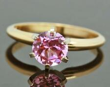 1.08ct Genuine Pink Sapphire Solitaire 14K 14KT Solid Yellow Gold Ring