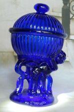 VTG COBALT BLUE GLASS PEDESTAL CANDY DISH LID TRINKET DISH