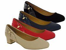 New Ladies/Womens Block Heel Court Shoes,Black,Red,Navy UK SIZES 8-11