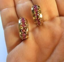 Women's Vintage Earrings 925 Gold Plate / Ruby Colored Stones
