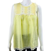 60's Vintage Babydoll Pajama Top Womens Size Small Yellow Sleeveless Pinup NOS
