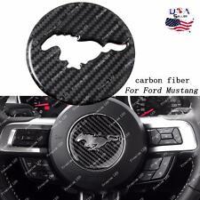 Carbon Fiber Interior Steering Wheel Decor Trim Sticker Ford Mustang 2015 - 2017