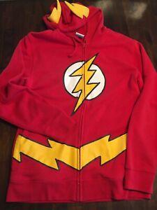 DC COMICS Original Flash Hooded Red Sweatshirt Full-Zip Cotton Pockets Medium