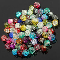 Mixed Crystal Crack Art Glass Round Loose Spacer Bead Charm Finding 4-12mm