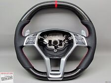 Mercedes CLS63 C63 E63 A45 AMG Perforated Red Ring THICKER CARBON Steering WHEEL