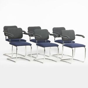 2018 Set of 6 Marcel Breuer for Knoll Studio Navy/Black Fabric Cesca Arm Chairs