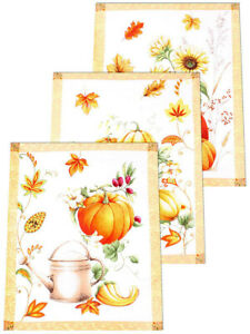 Kitchen Towels Set of 3 Made Russia Cotton Dish Towels Fall Harvest Pumpkins