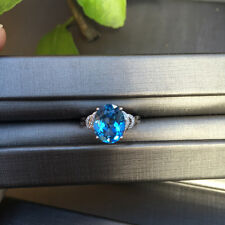 AAAAA Natural Blue Topaz 3.39ct W/diamond 0.08ct set in Rose 18K Gold ring K#