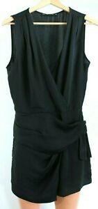Zara Basic Classic Black Sleeveless V-Neck Jumpsuit with Laced Front Size S