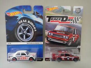 Hot Wheels - 2 x Datsun Bluebird 510 - Track Day &  Heritage Real Riders