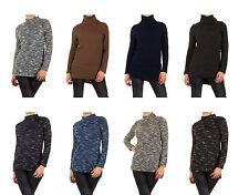 Damen-Pullover mit Stehkragen aus Baumwolle ohne Verschluss
