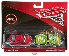 Cars 3 - Personaggi NATALIE CERTAIN e CHICK HICKS con CUFFIE Metallo Mattel 1:55