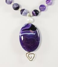 Purple Onyx Agate Gemstone Pendant Beads Sterling Silver Necklace