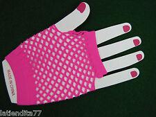 Fashion Fingerless Fish Net Gloves Neon Pink NWT