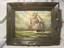 Vintage sailboat nautical seascape signed framed canvas Hoffman ? sea ship boat