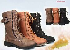Faux Leather Combat Low Heel Round Toe  Zipper  Boot Shoes Size 5.5 - 10 NEW