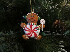 6 Resin PEPPERMINT CANDY MAN Christmas ORNAMENTS gingerbread man candyman