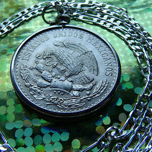 """1947-1948 MEXICAN SILVER ONE PESO PENDANT on a 28"""" .925 Sterling Silver Chain."""