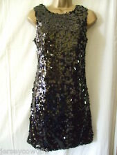 ***SALE*** NEW £44 BLACK SOUTH ALL OVER SEQUIN PARTY DRESS LONG TOP - SIZE 12